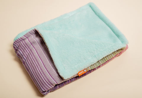 Stewed Rhubarb Luna (lilac weft) - Tula Signature Handwoven Heirloom Blanket