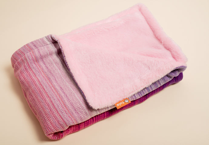 Stewed Rhubarb Nourish (raspberry weft) - Tula Signature Handwoven Heirloom Blanket