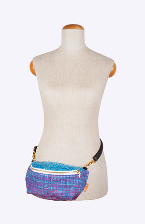 Rainbow Frog Dream.Magic.Love Variegated Blue Weft - Tula Wrap Conversion Hip Pouch