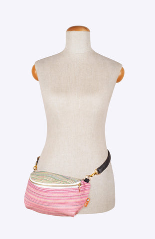 Rocking Horse Zenyatta Light Pink Weft with Sparkles - Tula Wrap Conversion Hip Pouch