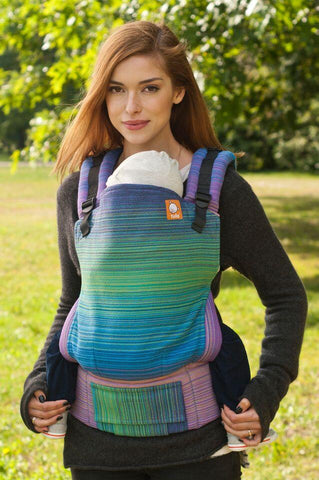 1/2 Small Size WC Carrier - Francine (Medium Blue Weft) Wrap Conversion - Baby Tula