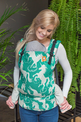 Half Toddler Wrap Conversion Carrier - Unicorns Emerald
