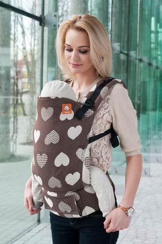 Full Toddler WC Carrier - Love Motif Cacao Wrap Conversion - Baby Tula