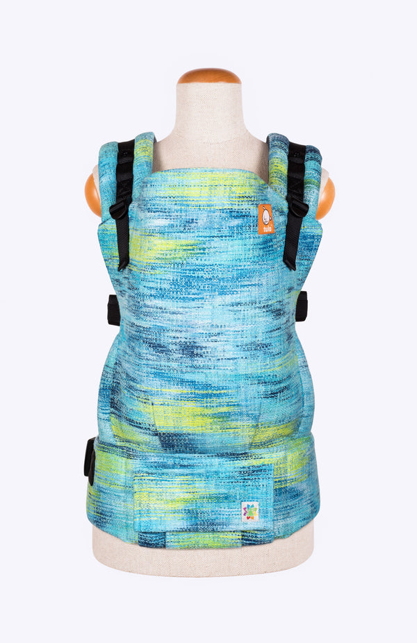 Rainbow Frog Very Superstitious Navy and Turquoise Variegated - Tula Signature Baby Carrier