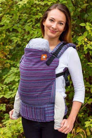 Half Standard Wrap Conversion Carrier - Electric Bloom Charcoal Weft 1 Wrap Conversion - Baby Tula