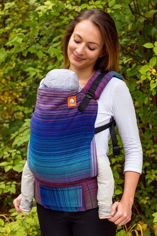 Half Toddler Wrap Conversion Carrier - Stewed Rhubarb Witchcraft Royal Blue Weft 1