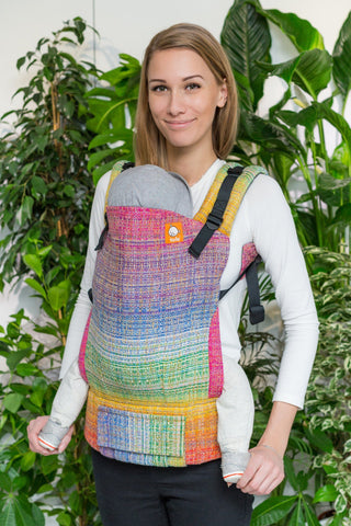 Half Standard Wrap Conversion Carrier - Rainbow Portal Yellow, Orange and Coral Pima Weft