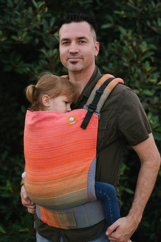 Half Toddler WC Carrier - Uppymama Spring Equinox Orange Wrap Conversion - Baby Tula