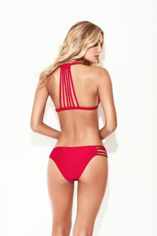 Sensuous red Colombian bikini set, triangle top (strappy back), strappy bottom