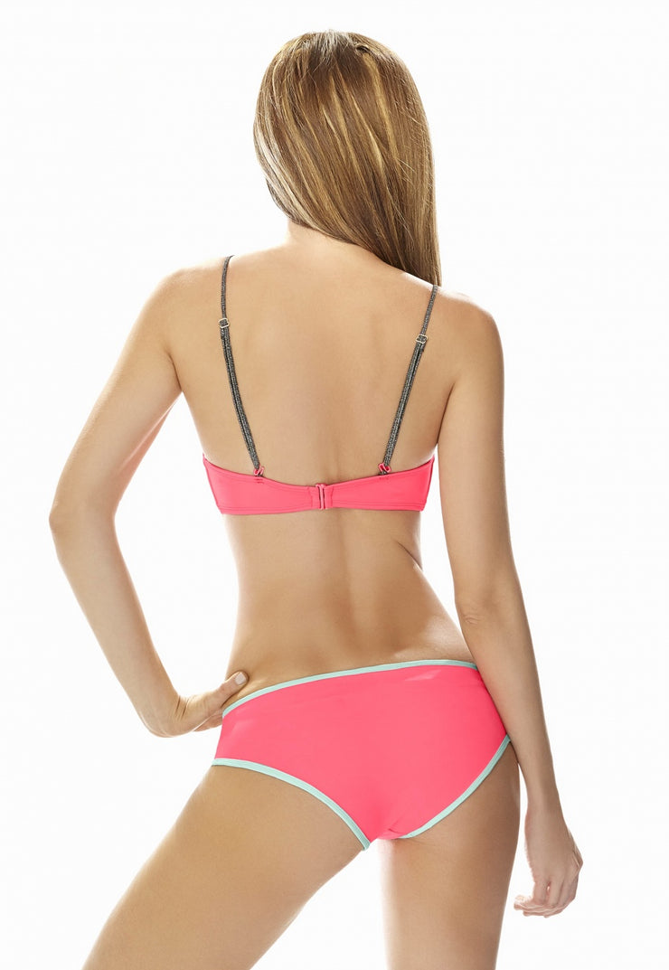 Sweet Colombian two-piece bikini, pink and blue, extra coverage swimsuit, hipset bottom
