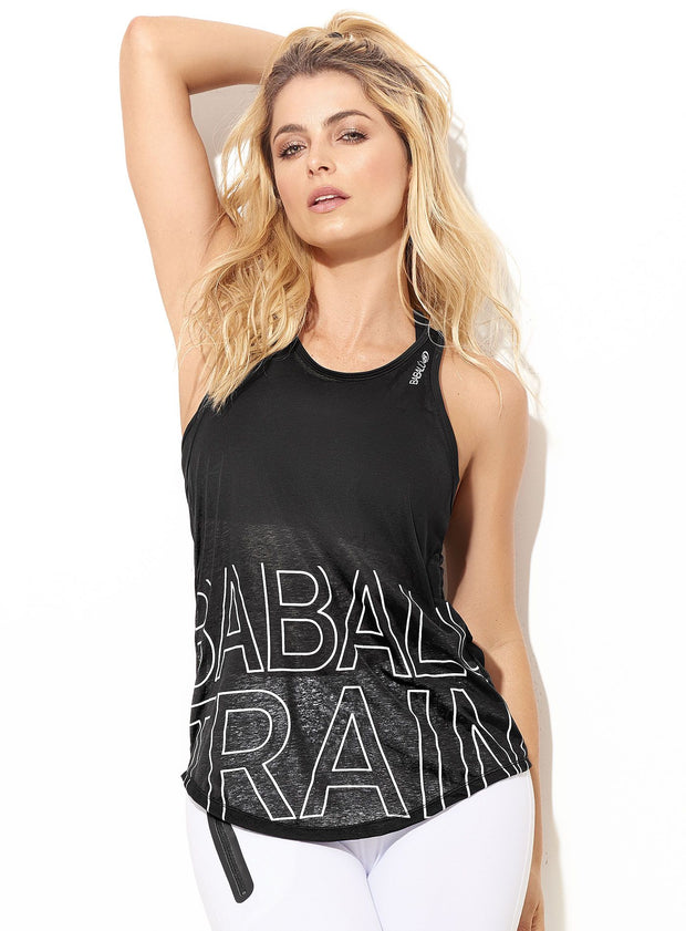"Light and airy black womens tank top, slightly sheer, ""Babalu Train"" written in large font with white outline in lower tank area"