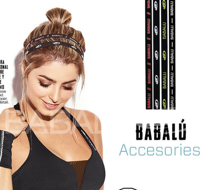 Black athletic headband, packet of 4, Babalu logo in white, red and yellow (all three colors are not together on each headband, separate), by Babalu Fashion sold by ironangelsfashion.com | Diadema atlética negra, paquete de 4, logo de Babalu en blanco, rojo y amarillo (los tres colores no están juntos en cada diadema, colores están separados en cada diadema).