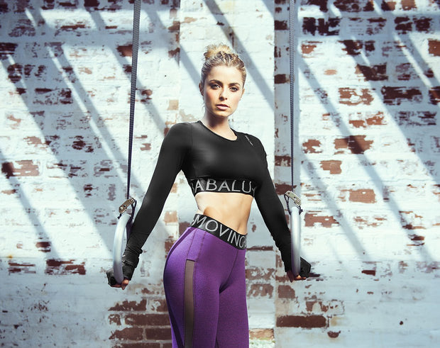 Babalu Fashion long sleeve crop top, open back design, chich and sporty