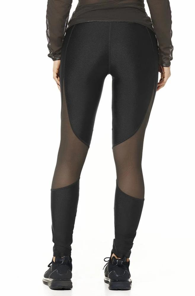 Mia, Black Leggings With Mesh Inserts