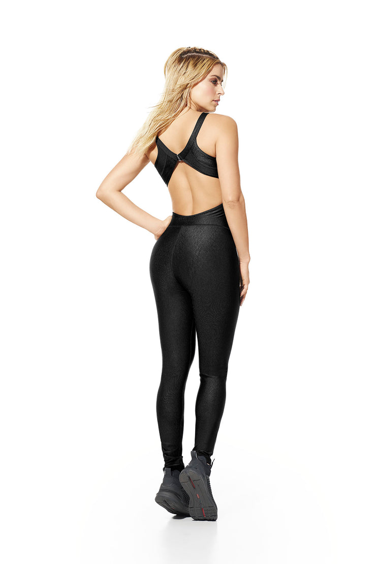 Sultry fitness jumpsuit, halter top design, open back, full-length bodysuit