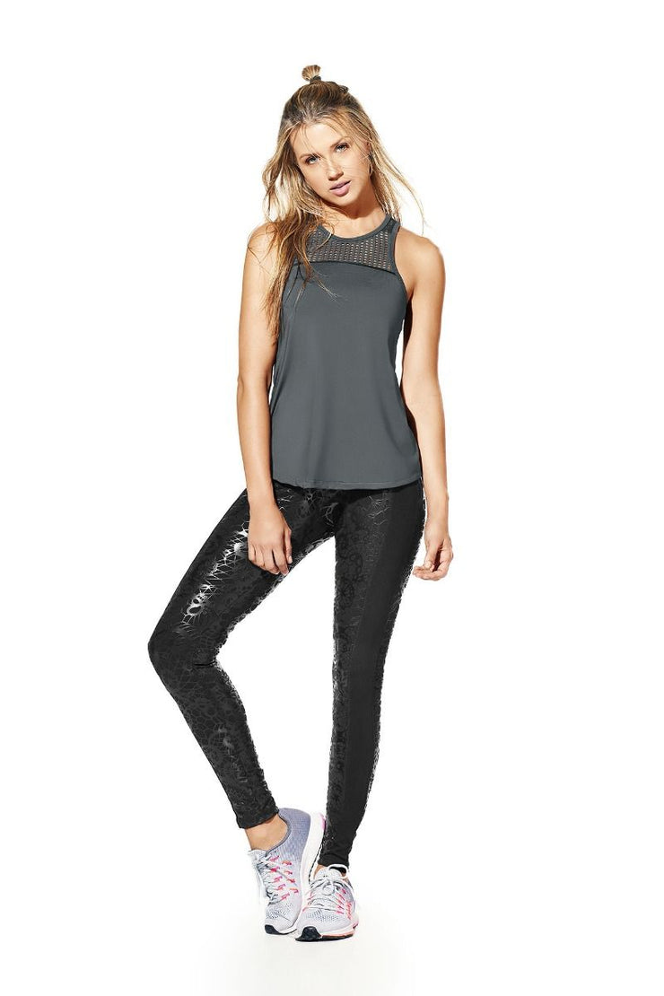 Supplex leggings with unique pattern in shiny leather-like fabric