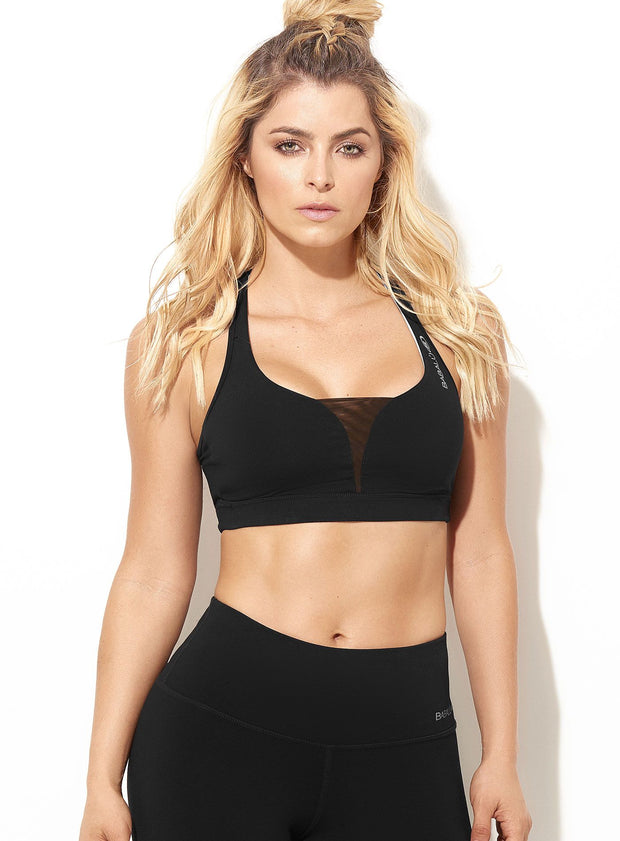 Babalu Fashion sports bra, tank top/racerback design, mesh detail in chest area