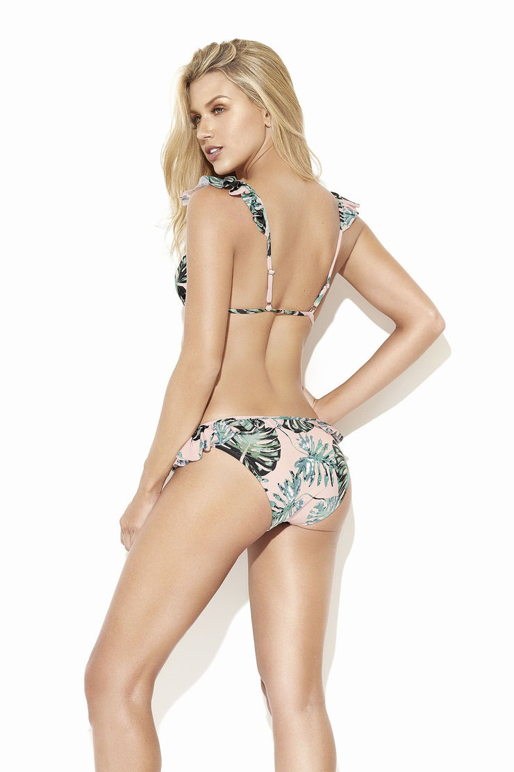 Gorgeous bikini set, ruffles on the shoulders and bottom piece, pink with green leaf pattern