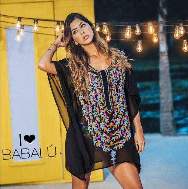 Black sheer tunic, multi-colored hand embroidered front design, slightly above knee length by Babalu Fashion sold by ironangelsfashion.com | Túnica transparente negra, diseño frontal multicolor bordado a mano, llega aproximadamente hasta la rodilla