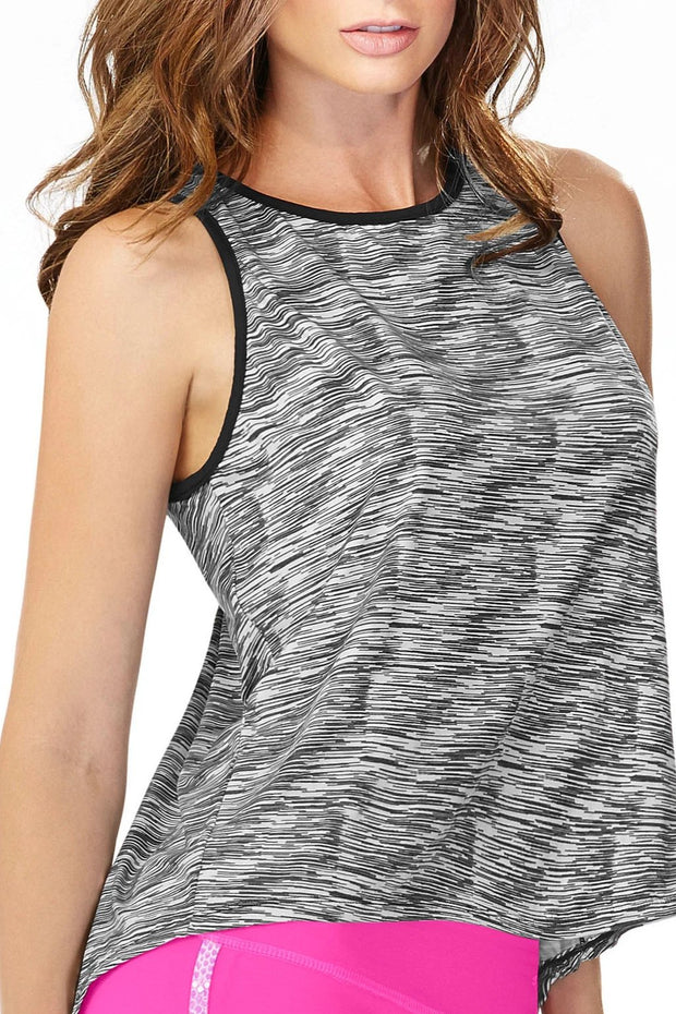 Cute and fashionable black and white athletic tank top with fun pattern for added element