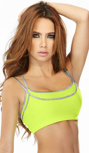 Babalu Fashion sports bra, solid color with silver shoulder straps