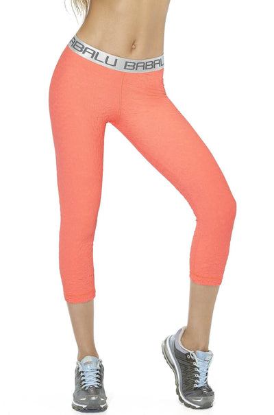 Fun, cute coral ⅞ leggings with silver waist band