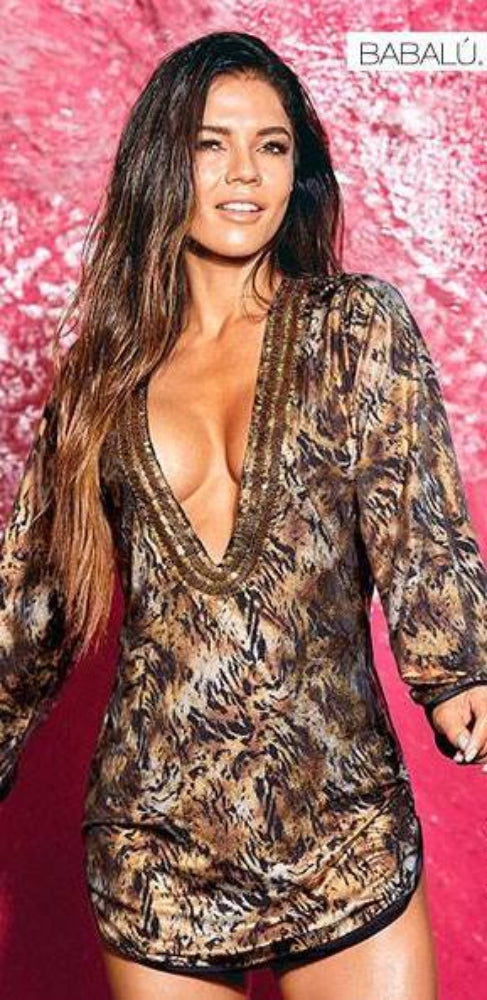 Sensuous animal print cover-up, plunged v-neck with hand-embroidered golden details