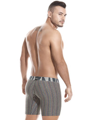 Black boxer briefs with colorful thin stripe pattern, grey waist band with Tarrao logo, form fitting, by Tarrao sold by ironangelsfashion.com | Calzoncillos boxer color negro con patrón de rayas finas de varios colores, cinturilla gris con el logotipo de Tarrao, forma ajustada