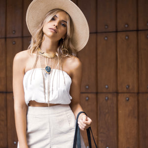 Crepe Croptop, Emma Widebrim hat, Hollandale Corduroy Shorts, Krista Bag