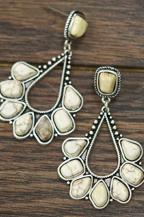 White Turquoise Galveston Earrings