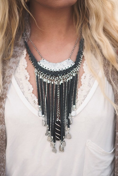 Leather Tassel Statement Necklace