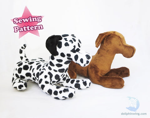Laying Dog Plushie Sewing Pattern sewing pattern and tutorial pdf_pattern, plushie_pattern, sewing_pattern