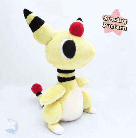 Ampharos Plush Sewing Pattern sewing pattern and tutorial plush_sewing_pattern, pokemon, sewing_pattern