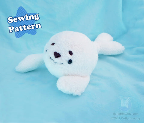 Arctic Seal Plushie Sewing Pattern sewing pattern and tutorial ocean, plush_sewing_pattern, sewing_pattern