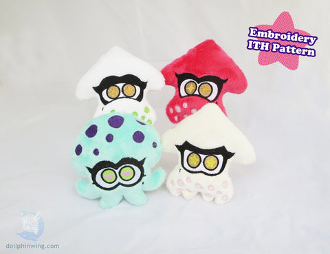 Lil Squids and Octopus Friends Bundle Pack Embroidery sewing pattern and tutorial embroidery_pattern, ith_pattern, ocean, plushie_pattern, sewing_pattern, splatoon