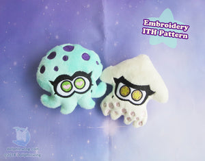 Squid and Octopus Friends ITH Embroidery Pattern sewing pattern and tutorial embroidery_pattern, ith_pattern, plushie_pattern, sewing_pattern, splatoon