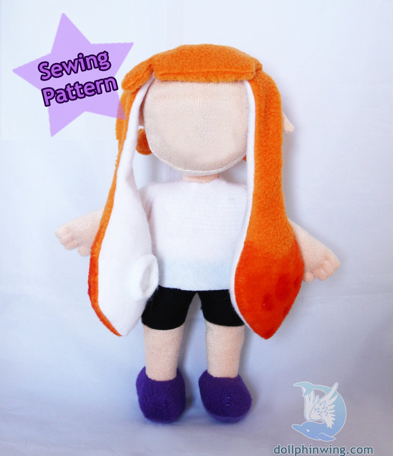 Squid Girl Doll Plush Sewing Pattern sewing pattern and tutorial doll_pattern, pdf_pattern, plushie_pattern, sewing_pattern, splatoon