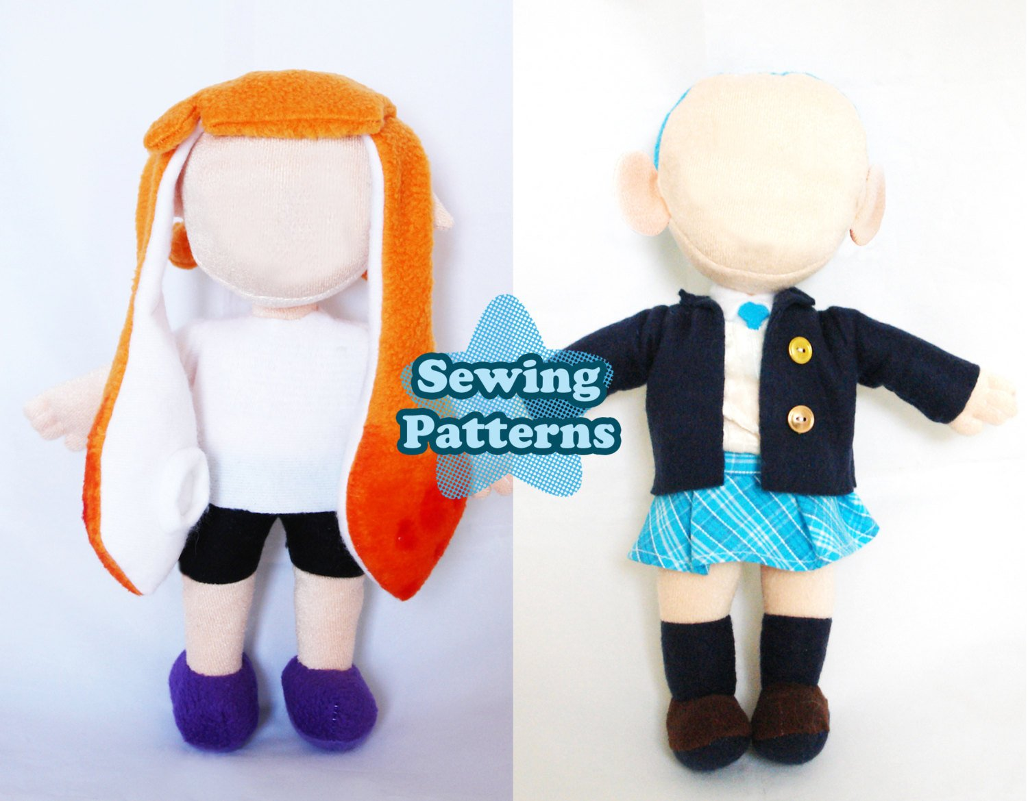 Chibi Person Clothing and Squid Hair Bundle Pack PDF sewing pattern and tutorial pdf, Plush_Sewing_Pattern, Sewing_Pattern, splatoon