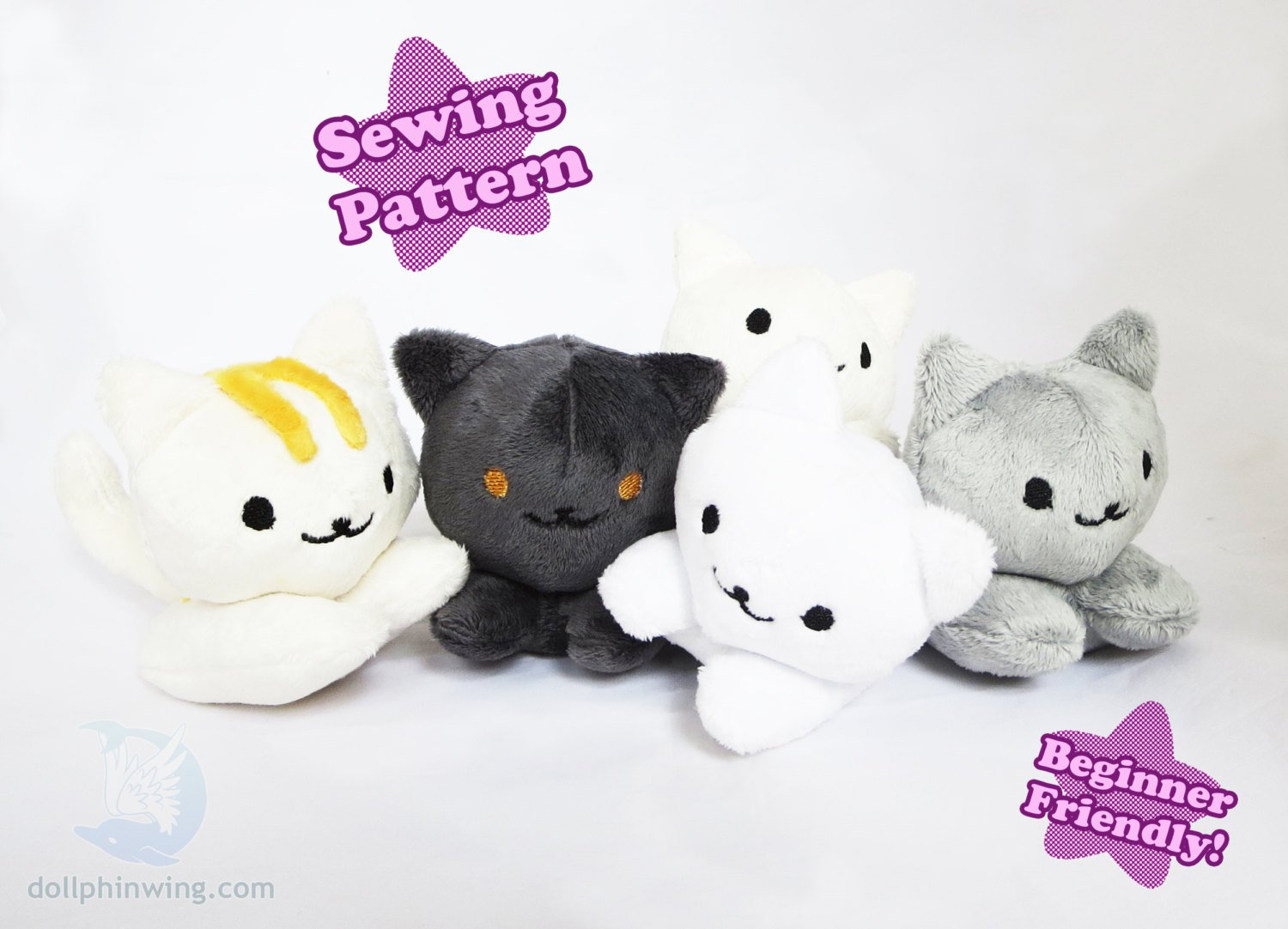 Kitty Beanie Plushie Sewing Pattern sewing pattern and tutorial pdf_pattern, plushie_pattern, sewing_pattern