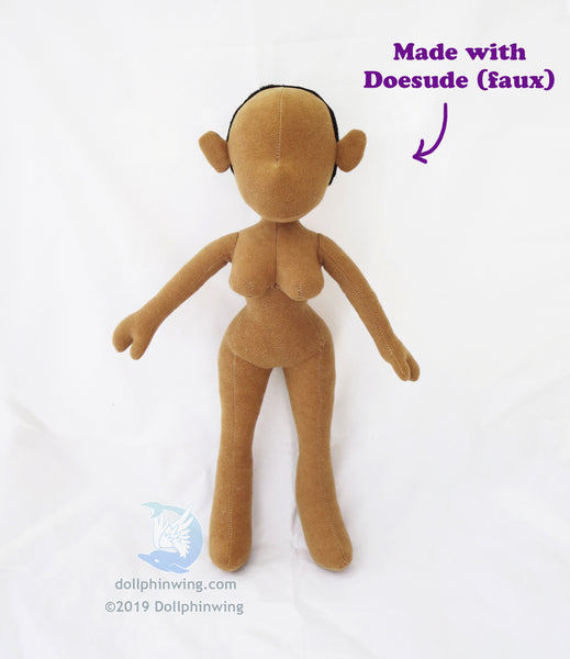 made with doesuede (faux) female figure doll plush