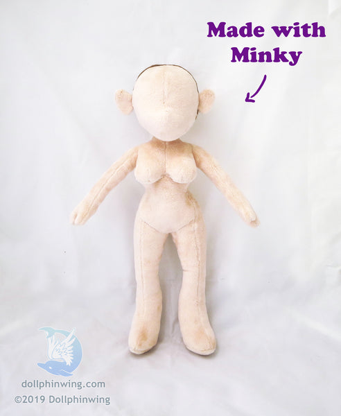 made with minky doll plushie girl figure