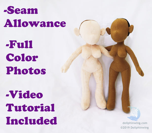 seam allowance full color photos video tutorial included pin up doll pattern