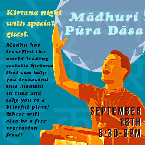 Kirtana night in Carmel Valley, September 18 5:30-8pm