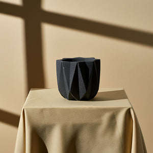 Geometric Planter (Medium) — Deep Grey