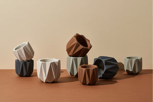 Geometric Planter (Small) — Terracotta