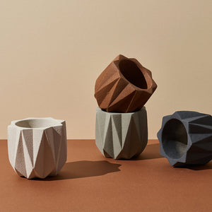 Geometric Planter (Medium) — White