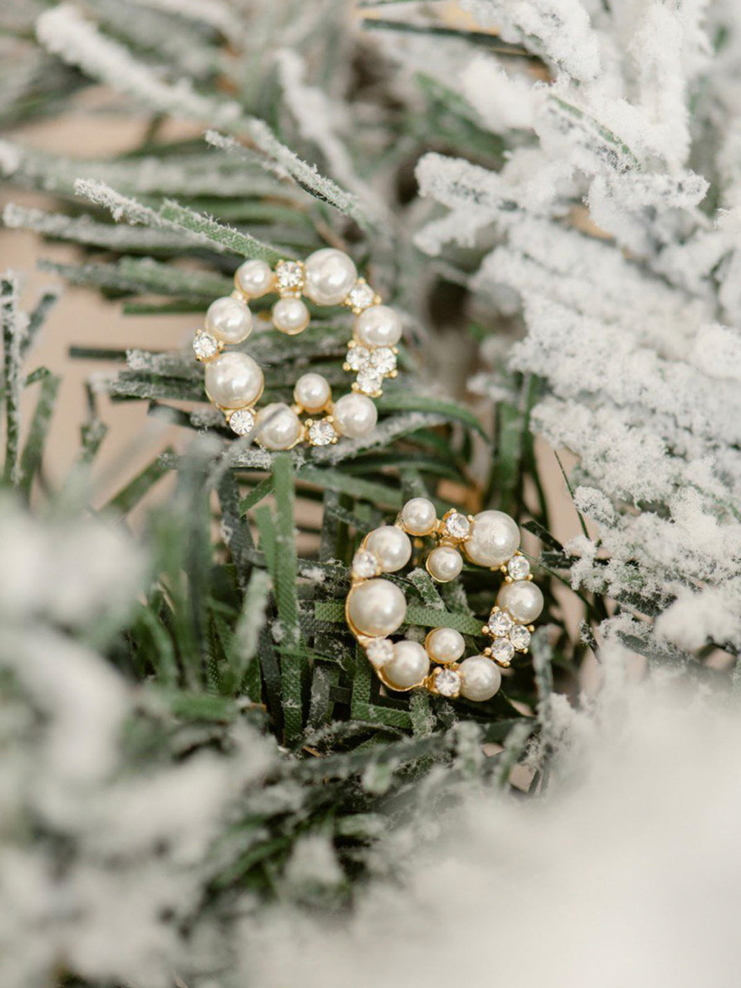 White Christmas Pearl Wreath Earrings