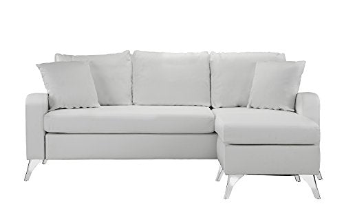 Divano Roma Furniture Bonded Leather Sectional Sofa Small Space
