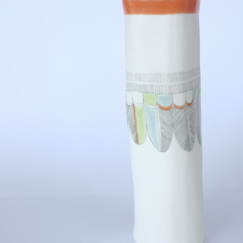porcelain vase – tangerine feather and fronds
