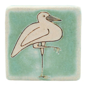 Ceramic Hand-Painted Crane Tile